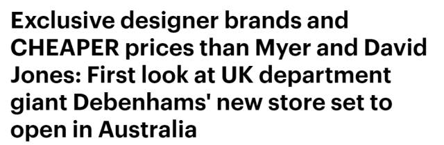 英國超级百货公司落户墨尔本CBD,稱每年要抢Myer和David Jones 2000万营业额!-澳洲唐人街