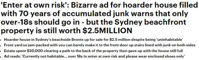 澳洲一堆了70年垃圾的房子竟叫價$2,500,000!地產商光清出讓人通過的小路就花了$30,000-澳洲唐人街
